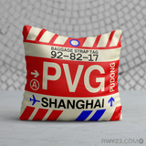 RWY23 - PVG Shanghai, China Airport Code Throw Pillow - Birthday Gift Christmas Gift