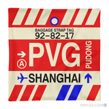 RWY23 - PVG Shanghai, China Airport Code Throw Pillow - Aviation Gift Travel Gift