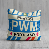 RWY23 - PWM Portland, Maine Airport Code Throw Pillow - Birthday Gift Christmas Gift