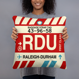 RDU Raleigh-Durham Throw Pillow • Airport Code & Vintage Baggage Tag Design