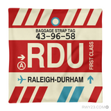 RWY23 - RDU Raleigh-Durham, North Carolina Airport Code Throw Pillow - Aviation Gift Travel Gift