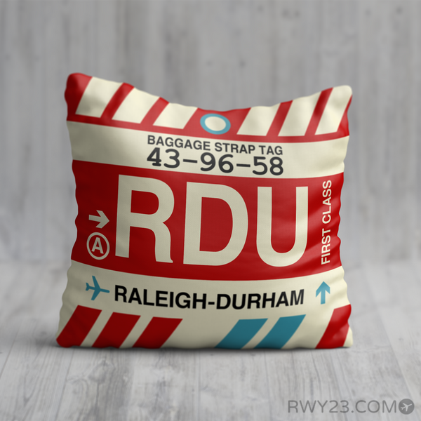RWY23 - RDU Raleigh-Durham, North Carolina Airport Code Throw Pillow - Birthday Gift Christmas Gift