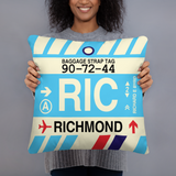 RWY23 - RIC Richmond, Virginia Airport Code Throw Pillow - Birthday Gift Christmas Gift - Lady