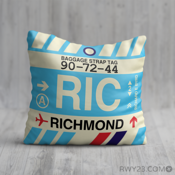RWY23 - RIC Richmond, Virginia Airport Code Throw Pillow - Birthday Gift Christmas Gift