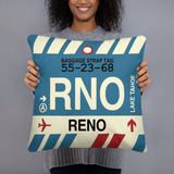 RWY23 - RNO Reno, Nevada Airport Code Throw Pillow - Birthday Gift Christmas Gift - Lady