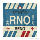 RWY23 - RNO Reno, Nevada Airport Code Throw Pillow - Aviation Gift Travel Gift