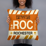 ROC Rochester Airport Code Throw Pillow - Vintage Baggage Tag Design