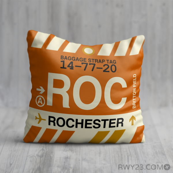 RWY23 - ROC Rochester, New York Airport Code Throw Pillow - Birthday Gift Christmas Gift