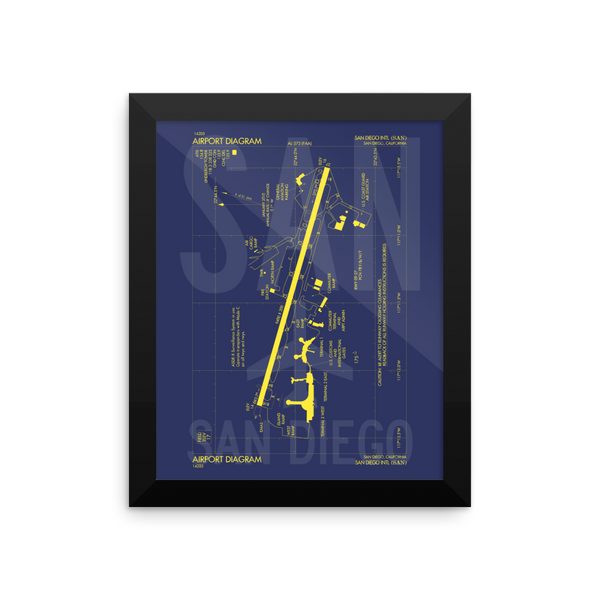 "RWY23 - SAN San Diego Airport Diagram Framed Poster - Aviation Art - Birthday Gift, Christmas Gift, Home and Office Decor  - 8""x10"" Wall"