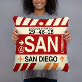SAN San Diego Throw Pillow • Airport Code & Vintage Baggage Tag Design