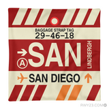 RWY23 - SAN San Diego, California Airport Code Throw Pillow - Aviation Gift Travel Gift