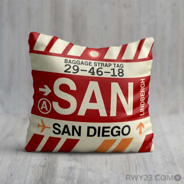 RWY23 - SAN San Diego, California Airport Code Throw Pillow - Birthday Gift Christmas Gift