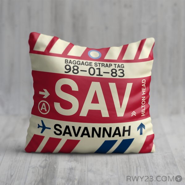 RWY23 - SAV Savannah, Georgia Airport Code Throw Pillow - Birthday Gift Christmas Gift