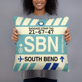 SBN South Bend Throw Pillow • Airport Code & Vintage Baggage Tag Design