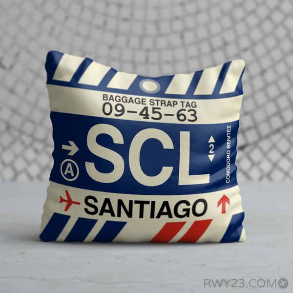 RWY23 - SCL Santiago, Chile Airport Code Throw Pillow - Birthday Gift Christmas Gift