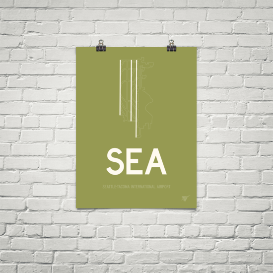 "RWY23 - SEA Seattle Airport Runway Diagram Unframed Rectangle Poster - Christmas Gift - 18""x24"" Brick"