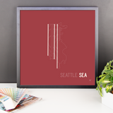 "RWY23 SEA Seattle-Tacoma Airport Runway Diagram Framed Poster Desk 18""x18"""