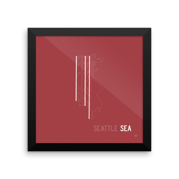"RWY23 - SEA Seattle Airport Runway Diagram Framed Square Poster - Aviation Gift - Wall 10""x10"""