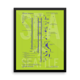 "RWY23 - SEA Seattle Airport Diagram Framed Poster - Aviation Art - Birthday Gift, Christmas Gift, Home and Office Decor - 16""x20"" Wall"