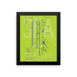 "RWY23 - SEA Seattle Airport Diagram Framed Poster - Aviation Art - Birthday Gift, Christmas Gift, Home and Office Decor  - 8""x10"" Wall"