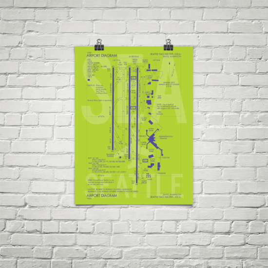 "RWY23 SEA Seattle-Tacoma Airport Diagram Poster 18""x24"" Brick"