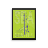 "RWY23 - SEA Seattle Airport Diagram Framed Poster - Aviation Art - Birthday Gift, Christmas Gift, Home and Office Decor - 12""x16"" Wall"