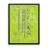 "RWY23 - SEA Seattle Airport Diagram Framed Poster - Aviation Art - Birthday Gift, Christmas Gift, Home and Office Decor - 18""x24"" Wall"