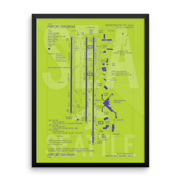 "RWY23 SEA Seattle-Tacoma Airport Diagram Framed Poster 18""x24"" Wall"