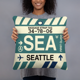 SEA Seattle Throw Pillow • Airport Code & Vintage Baggage Tag Design