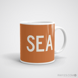 RWY23 - SEA Seattle Coffee Mug - Airport Code and Runway Diagram Design - Aviation Gift Birthday Gift - Right