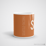 RWY23 - SEA Seattle Coffee Mug - Airport Code and Runway Diagram Design - Student Gift Teacher Gift - Side
