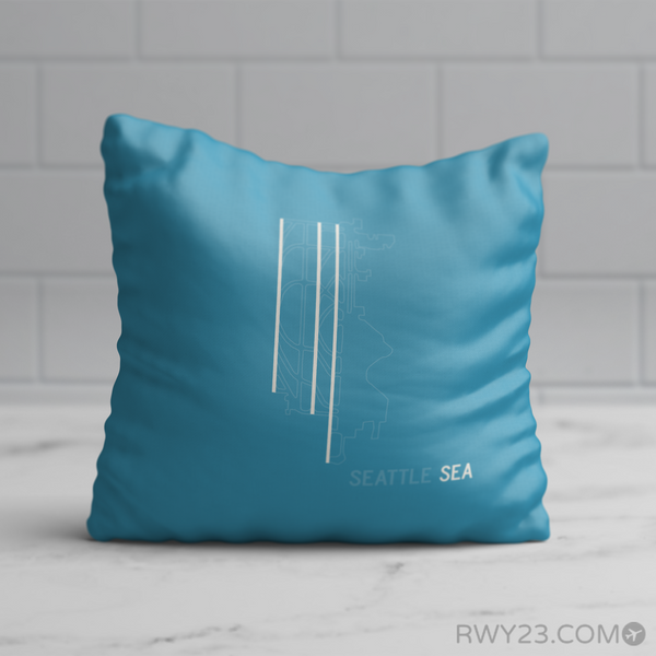 RWY23 - SEA Seattle Airport Runway Diagram Design Throw Pillow - Birthday Gift Christmas Gift