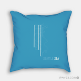 RWY23 - SEA Seattle Airport Runway Diagram Design Throw Pillow - Housewarming Gift Aviation Gift
