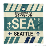 RWY23 - SEA Seattle, Washington Airport Code Throw Pillow - Aviation Gift Travel Gift