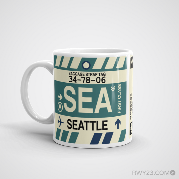 RWY23 - SEA Seattle, Washington Airport Code Coffee Mug - Birthday Gift, Christmas Gift - Left