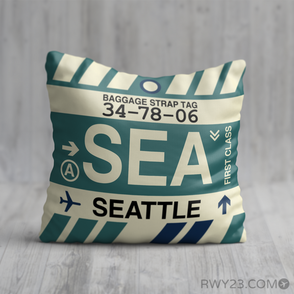 RWY23 - SEA Seattle, Washington Airport Code Throw Pillow - Birthday Gift Christmas Gift