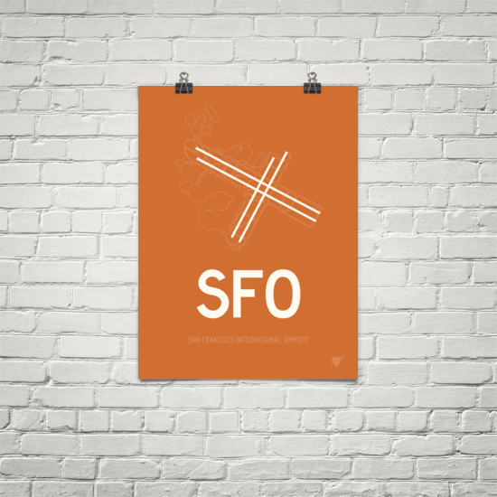 "RWY23 - SFO San Francisco Airport Runway Diagram Unframed Rectangle Poster - Christmas Gift - 18""x24"" Brick"