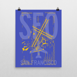 "RWY23 - SFO San Francisco Airport Diagram Poster - Aviation Art - Birthday Gift, Christmas Gift, Home and Office Decor - 16""x20"" Wall"