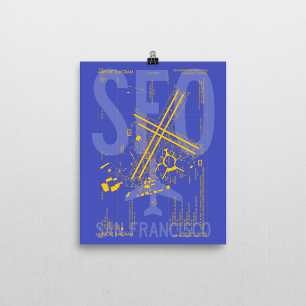 "RWY23 - SFO San Francisco Airport Diagram Poster - Aviation Art - Birthday Gift, Christmas Gift, Home and Office Decor  - 8""x10"" Wall"
