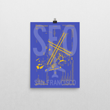 "RWY23 SFO San Francisco Airport Diagram Poster 12""x16"" Wall"