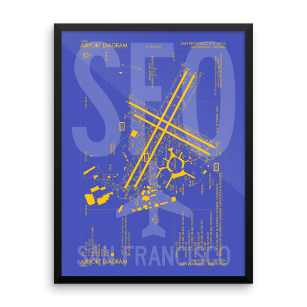 "RWY23 - SFO San Francisco Airport Diagram Framed Poster - Aviation Art - Birthday Gift, Christmas Gift, Home and Office Decor - 18""x24"" Wall"