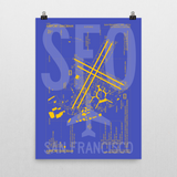 "RWY23 SFO San Francisco Airport Diagram Poster 18""x24"" Wall"
