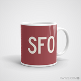 RWY23 - SFO San Francisco Coffee Mug - Airport Code and Runway Diagram Design - Aviation Gift Birthday Gift - Right