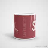RWY23 - SFO San Francisco Coffee Mug - Airport Code and Runway Diagram Design - Student Gift Teacher Gift - Side
