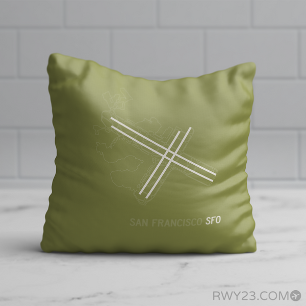 RWY23 - SFO San Francisco Airport Runway Diagram Design Throw Pillow - Birthday Gift Christmas Gift