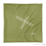 RWY23 - SFO San Francisco Throw Pillow - Airport Runway Diagram Design - Aviation Gift Travel Gift