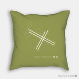 RWY23 - SFO San Francisco Airport Runway Diagram Design Throw Pillow - Housewarming Gift Aviation Gift