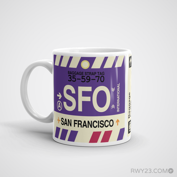 RWY23 - SFO San Francisco, California Airport Code Coffee Mug - Birthday Gift, Christmas Gift - Left