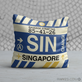 RWY23 - SIN Singapore,  Airport Code Throw Pillow - Birthday Gift Christmas Gift