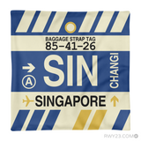 RWY23 - SIN Singapore,  Airport Code Throw Pillow - Aviation Gift Travel Gift